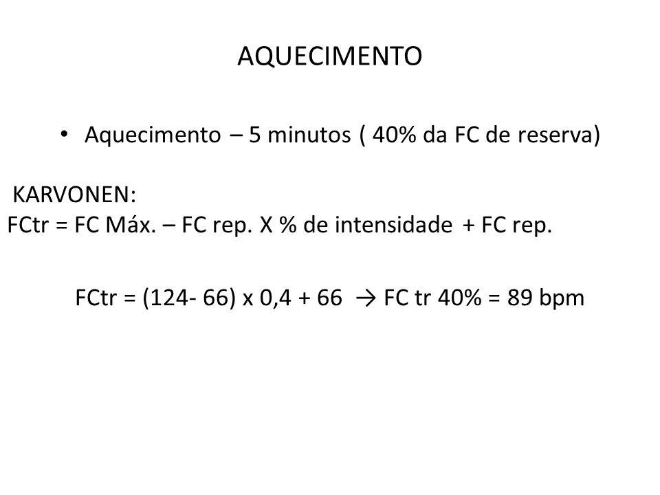 AQUECIMENTO Aquecimento – 5 minutos ( 40% da FC de reserva) KARVONEN: FCtr = FC Máx. – FC rep. X % de intensidade + FC rep. FCtr = (124- 66) x 0,4 + 6