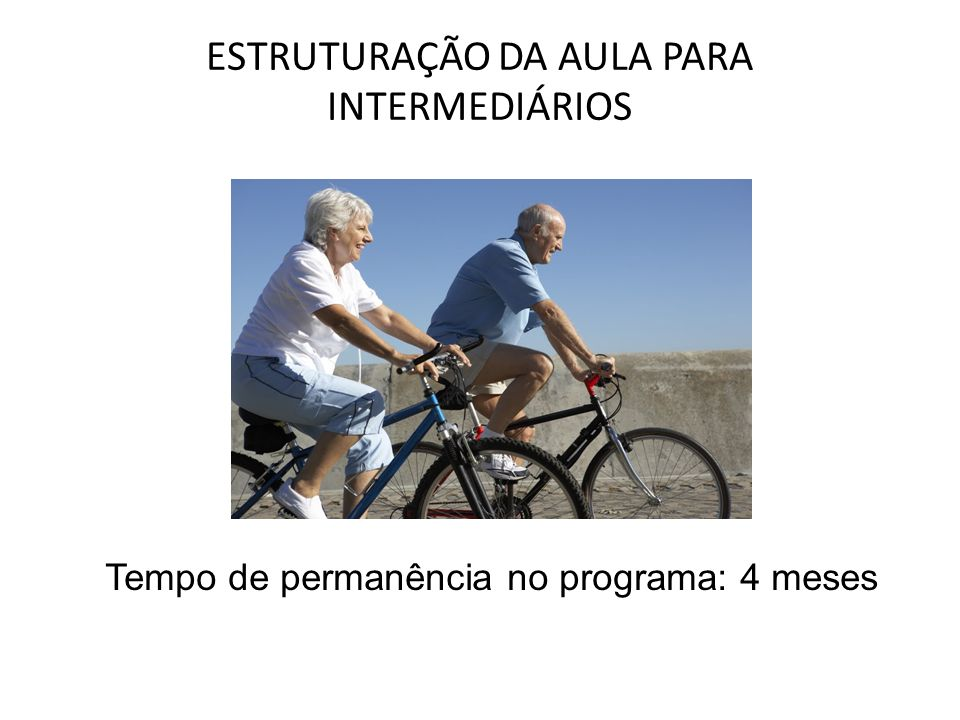 ESTRUTURAÇÃO DA AULA PARA INTERMEDIÁRIOS Tempo de permanência no programa: 4 meses