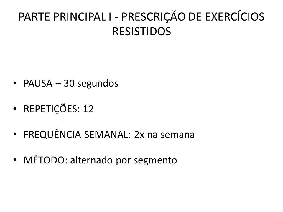 PARTE PRINCIPAL I - PRESCRIÇÃO DE EXERCÍCIOS RESISTIDOS PAUSA – 30 segundos REPETIÇÕES: 12 FREQUÊNCIA SEMANAL: 2x na semana MÉTODO: alternado por segm