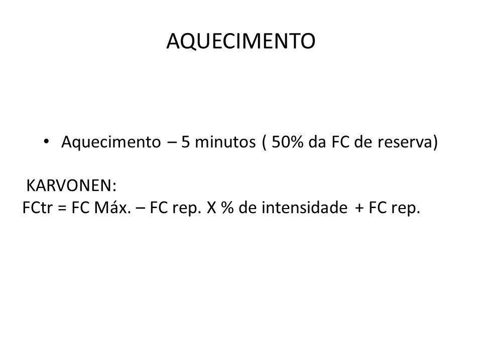 AQUECIMENTO Aquecimento – 5 minutos ( 50% da FC de reserva) KARVONEN: FCtr = FC Máx. – FC rep. X % de intensidade + FC rep.