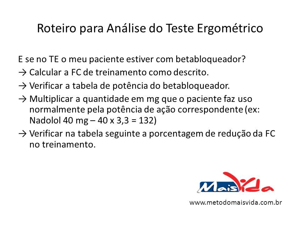 Roteiro para Análise do Teste Ergométrico E se no TE o meu paciente estiver com betabloqueador? Calcular a FC de treinamento como descrito. Verificar