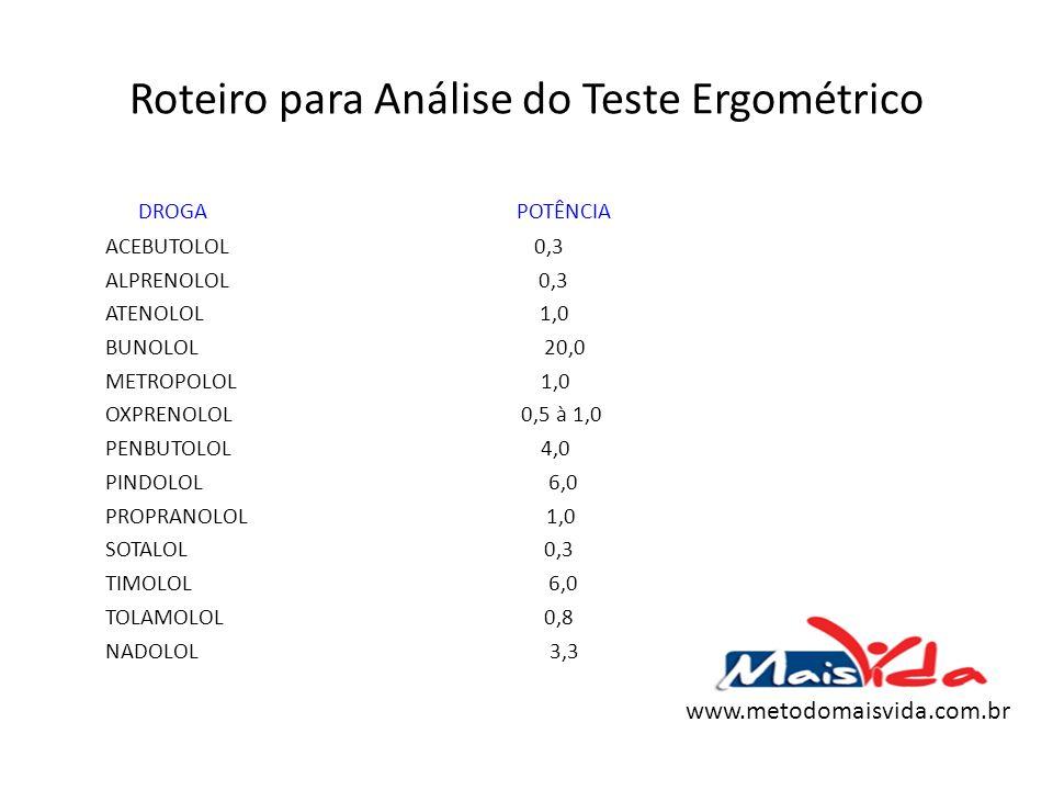 Roteiro para Análise do Teste Ergométrico DROGA POTÊNCIA ACEBUTOLOL 0,3 ALPRENOLOL 0,3 ATENOLOL 1,0 BUNOLOL 20,0 METROPOLOL 1,0 OXPRENOLOL 0,5 à 1,0 P