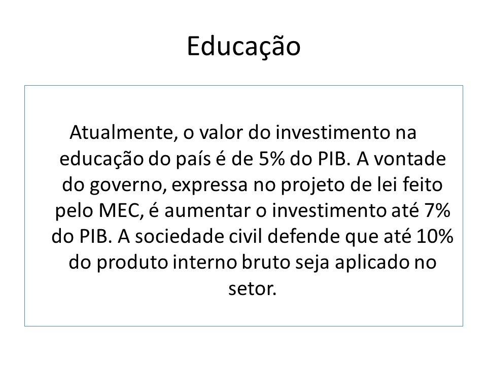 Educação Atualmente, o valor do investimento na educação do país é de 5% do PIB. A vontade do governo, expressa no projeto de lei feito pelo MEC, é au