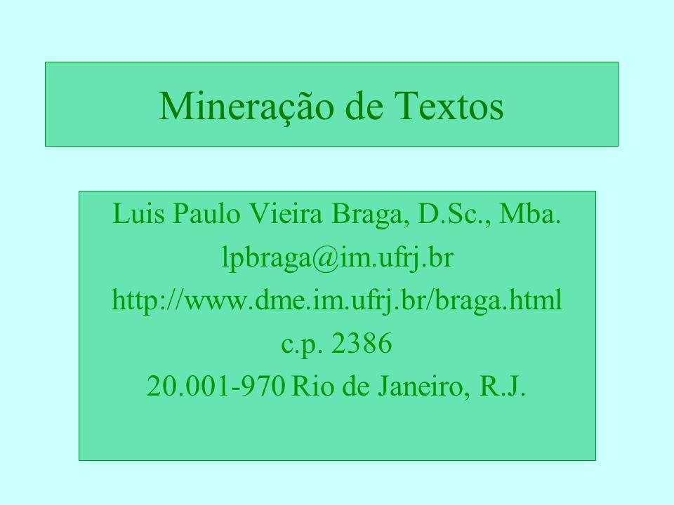 Mineração de Textos Luis Paulo Vieira Braga, D.Sc., Mba. lpbraga@im.ufrj.br http://www.dme.im.ufrj.br/braga.html c.p. 2386 20.001-970 Rio de Janeiro,