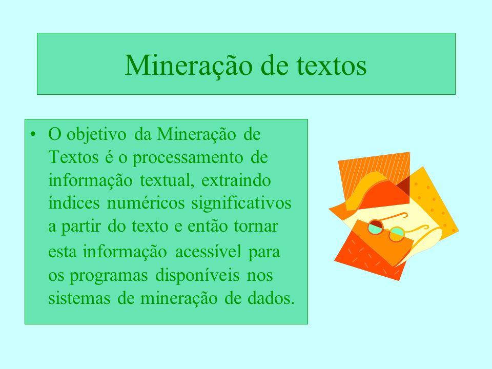 Mineração de textos O objetivo da Mineração de Textos é o processamento de informação textual, extraindo índices numéricos significativos a partir do