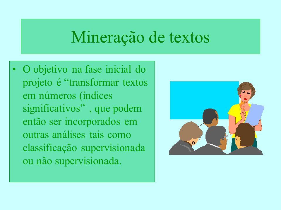 Mineração de textos O objetivo na fase inicial do projeto é transformar textos em números (índices significativos, que podem então ser incorporados em