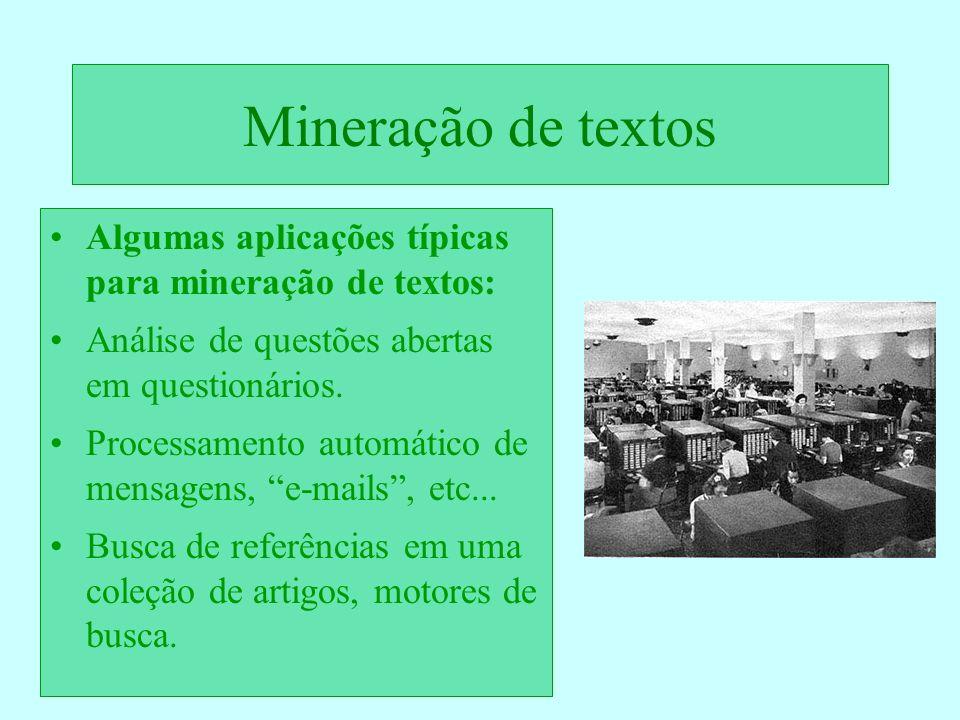 Mineração de textos Algumas aplicações típicas para mineração de textos: Análise de questões abertas em questionários. Processamento automático de men