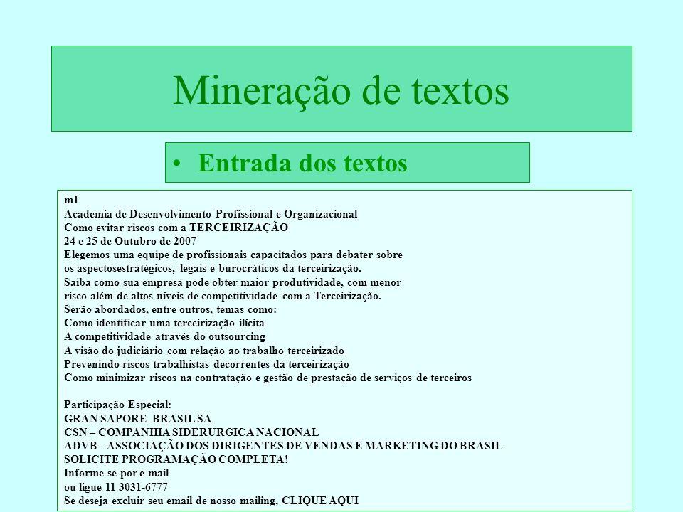 Mineração de textos Entrada dos textos m1 Academia de Desenvolvimento Profissional e Organizacional Como evitar riscos com a TERCEIRIZAÇÃO 24 e 25 de