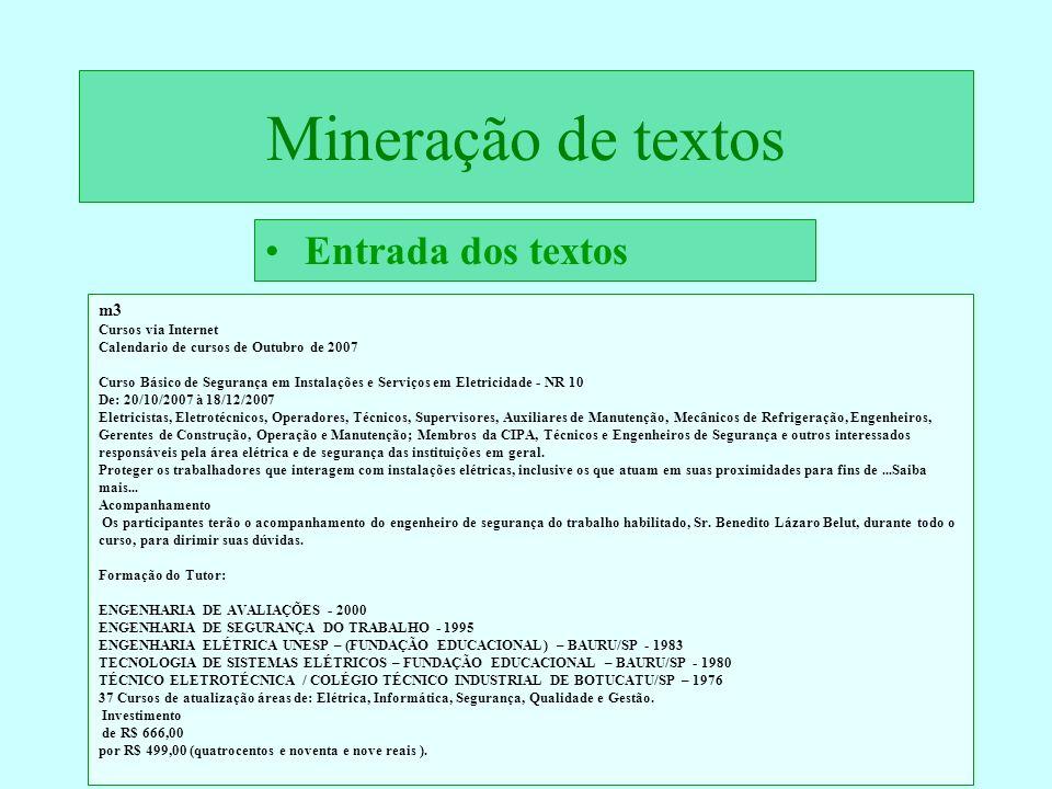 Mineração de textos Entrada dos textos m3 Cursos via Internet Calendario de cursos de Outubro de 2007 Curso Básico de Segurança em Instalações e Servi