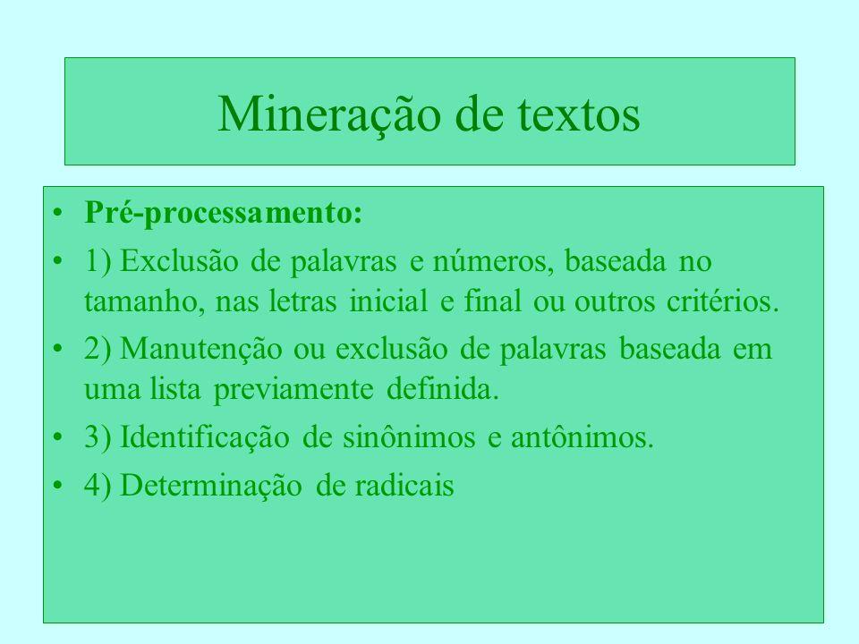 Mineração de textos Pré-processamento: 1) Exclusão de palavras e números, baseada no tamanho, nas letras inicial e final ou outros critérios. 2) Manut