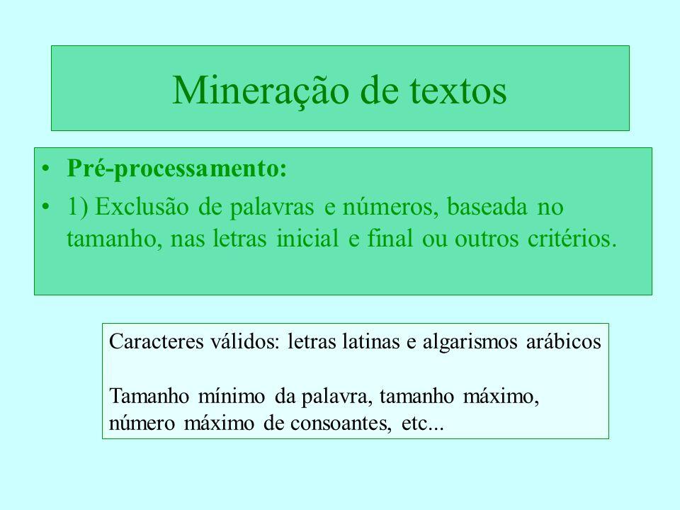 Mineração de textos Pré-processamento: 1) Exclusão de palavras e números, baseada no tamanho, nas letras inicial e final ou outros critérios. Caracter