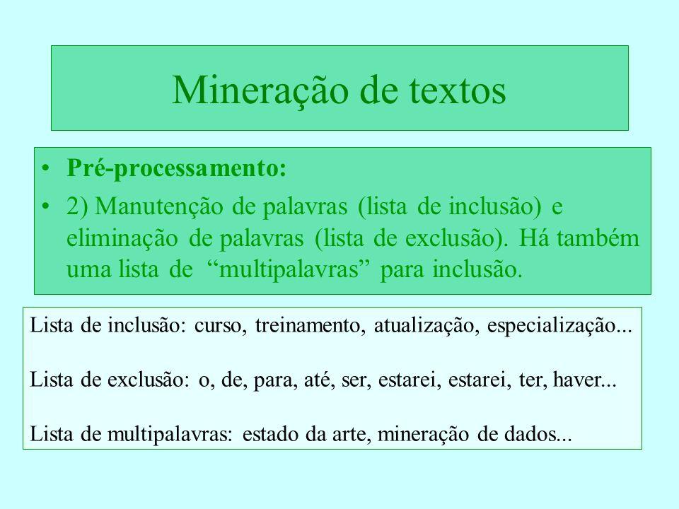 Mineração de textos Pré-processamento: 2) Manutenção de palavras (lista de inclusão) e eliminação de palavras (lista de exclusão). Há também uma lista