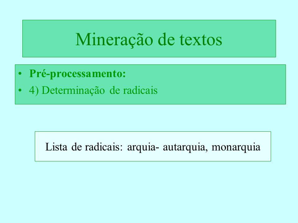 Mineração de textos Pré-processamento: 4) Determinação de radicais Lista de radicais: arquia- autarquia, monarquia