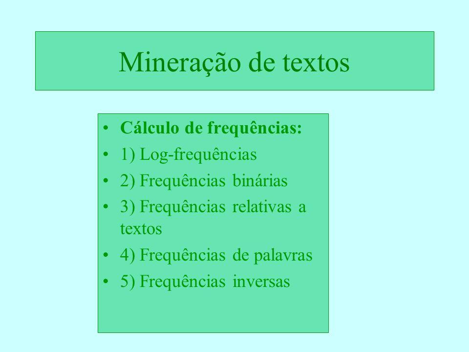 Mineração de textos Cálculo de frequências: 1) Log-frequências 2) Frequências binárias 3) Frequências relativas a textos 4) Frequências de palavras 5)