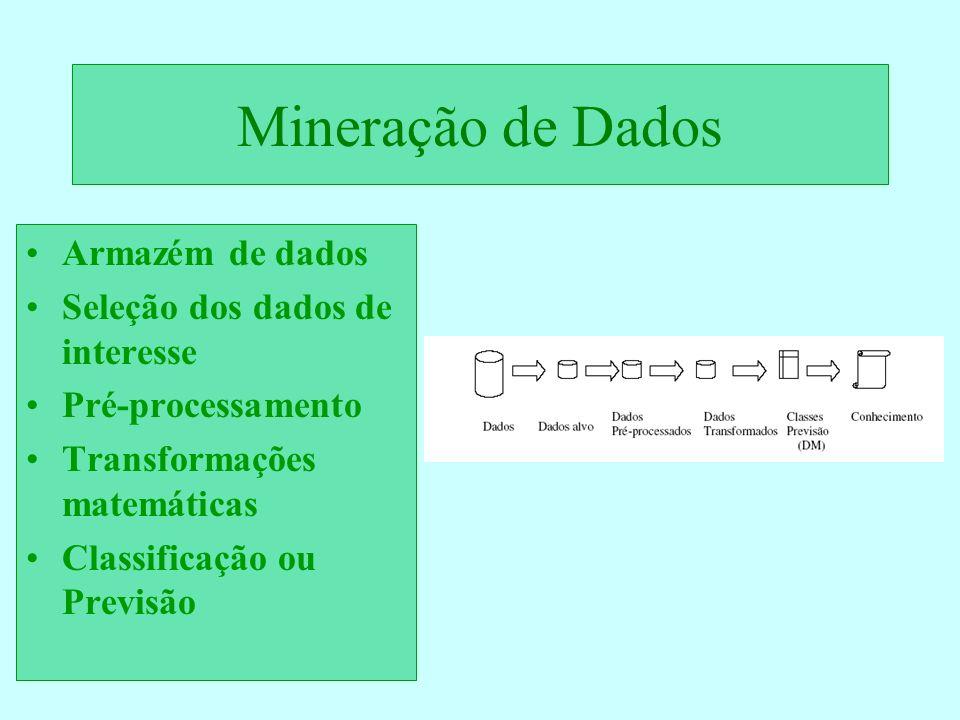 Mineração de Dados Armazém de dados Seleção dos dados de interesse Pré-processamento Transformações matemáticas Classificação ou Previsão
