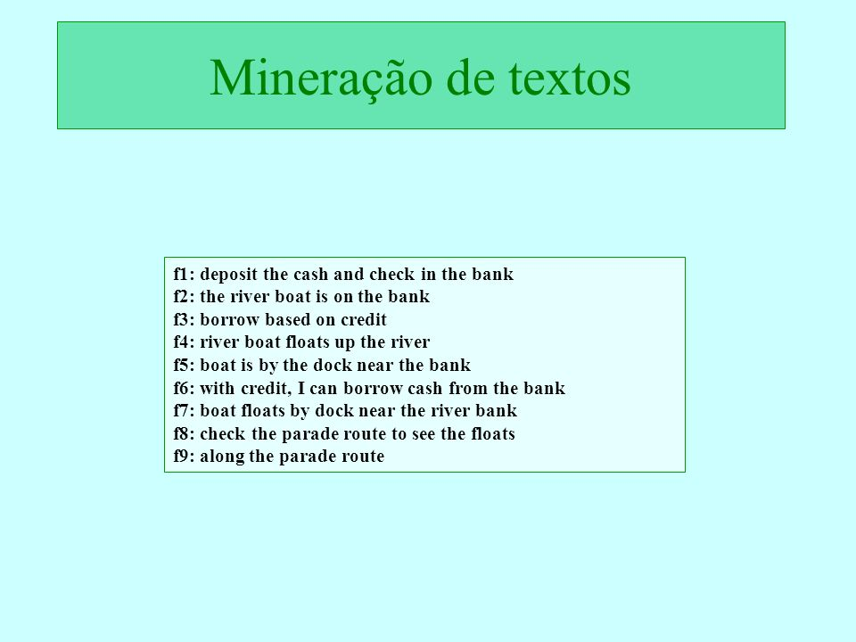 Mineração de textos f1: deposit the cash and check in the bank f2: the river boat is on the bank f3: borrow based on credit f4: river boat floats up t