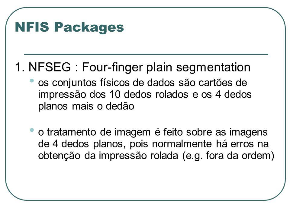 NFIS Packages 1. NFSEG : Four-finger plain segmentation os conjuntos físicos de dados são cartões de impressão dos 10 dedos rolados e os 4 dedos plano