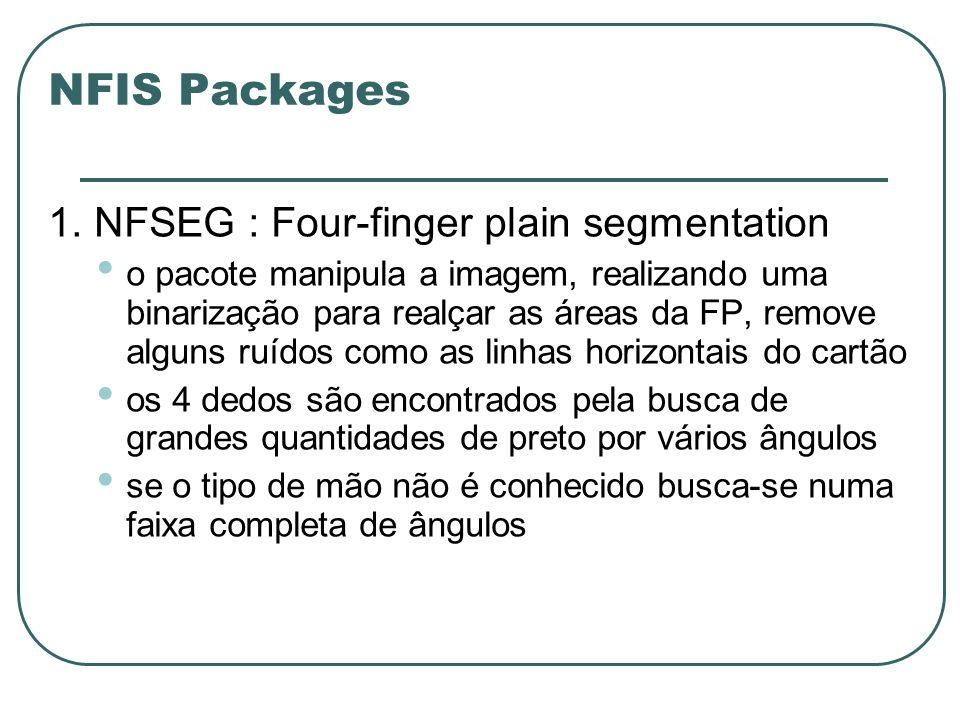 NFIS Packages 1. NFSEG : Four-finger plain segmentation o pacote manipula a imagem, realizando uma binarização para realçar as áreas da FP, remove alg