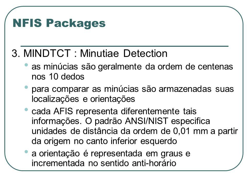 NFIS Packages 3. MINDTCT : Minutiae Detection as minúcias são geralmente da ordem de centenas nos 10 dedos para comparar as minúcias são armazenadas s