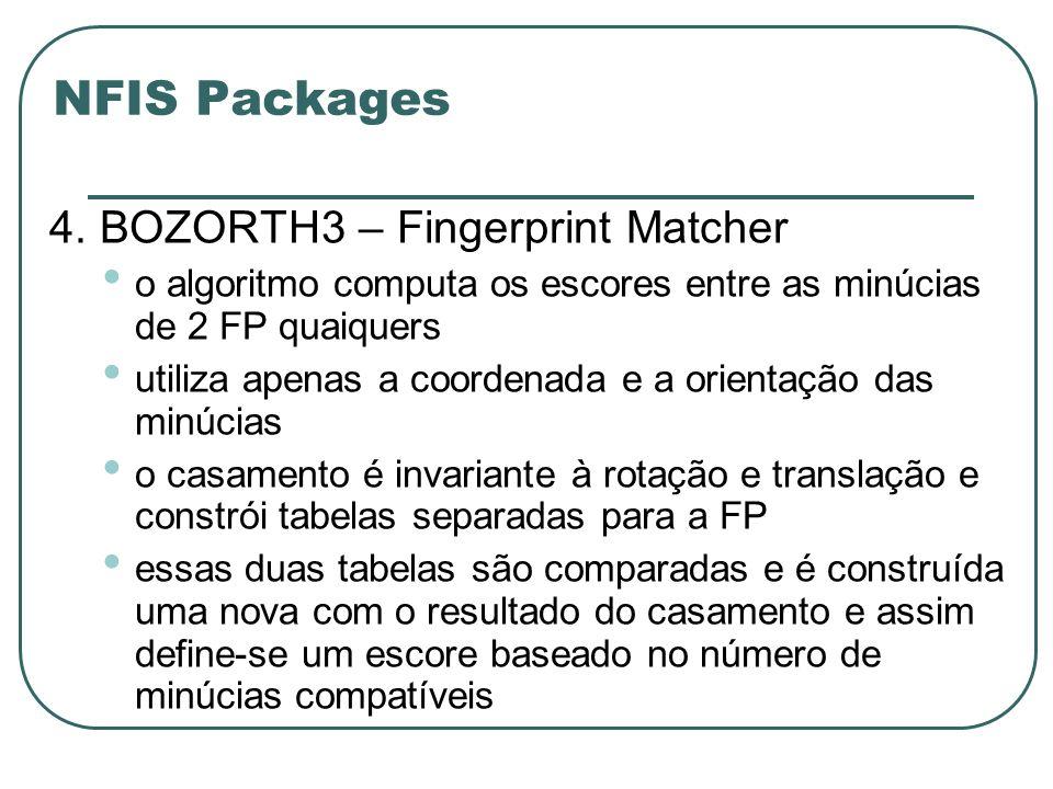 NFIS Packages 4. BOZORTH3 – Fingerprint Matcher o algoritmo computa os escores entre as minúcias de 2 FP quaiquers utiliza apenas a coordenada e a ori