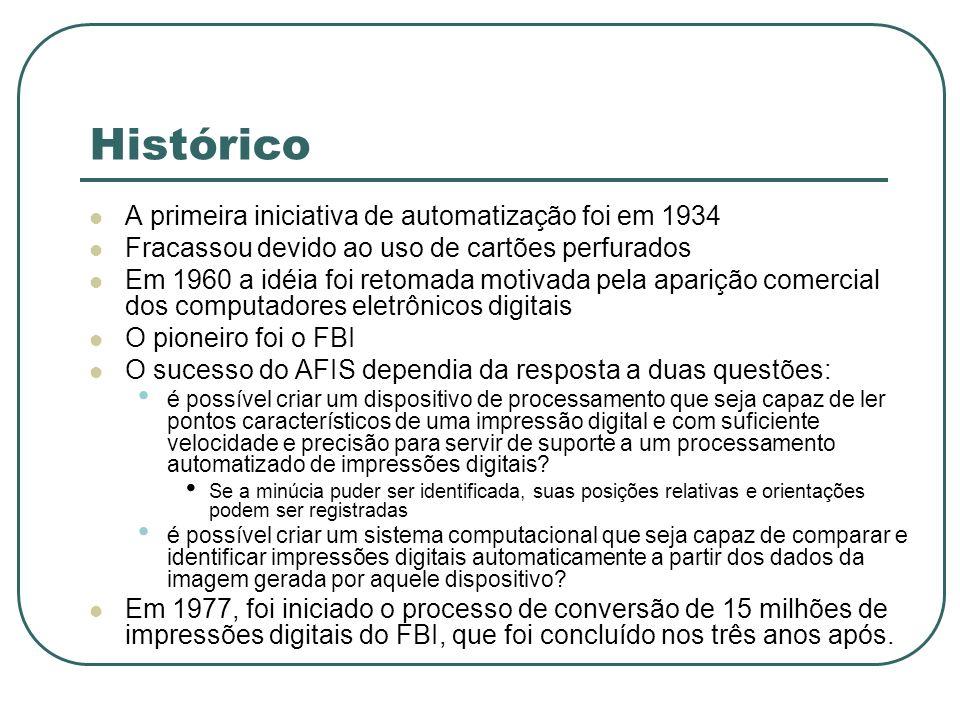 Histórico A primeira iniciativa de automatização foi em 1934 Fracassou devido ao uso de cartões perfurados Em 1960 a idéia foi retomada motivada pela