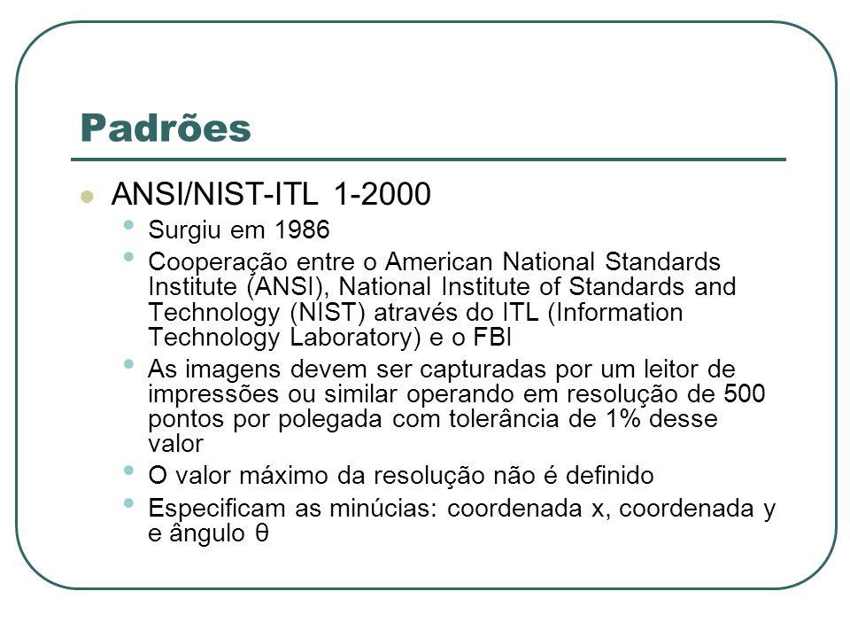 Padrões ANSI/NIST-ITL 1-2000 Surgiu em 1986 Cooperação entre o American National Standards Institute (ANSI), National Institute of Standards and Techn