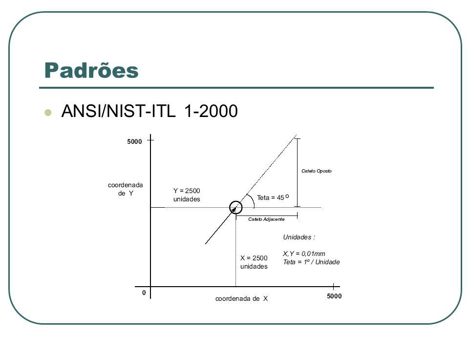 Padrões FBI/IAFIS EFTS (Eletronic Transmission Specification) Outras entidades podem estabelecer comunicação eletrônica com o IAFIS Codifica apenas quatro tipos de impressões digitais (arco, presilha interna, presilha externa e verticilo)