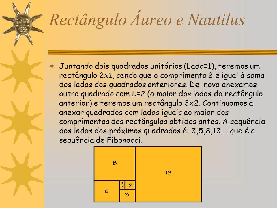 Rectângulo Áureo e Nautilus Juntando dois quadrados unitários (Lado=1), teremos um rectângulo 2x1, sendo que o comprimento 2 é igual à soma dos lados