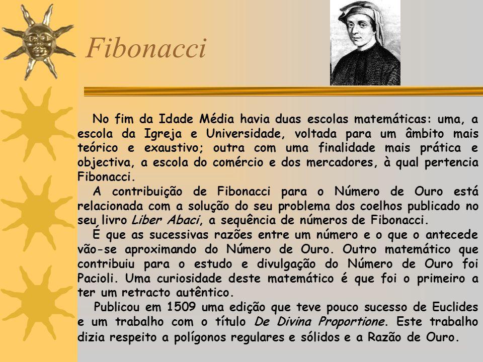 Fibonacci No fim da Idade Média havia duas escolas matemáticas: uma, a escola da Igreja e Universidade, voltada para um âmbito mais teórico e exaustiv