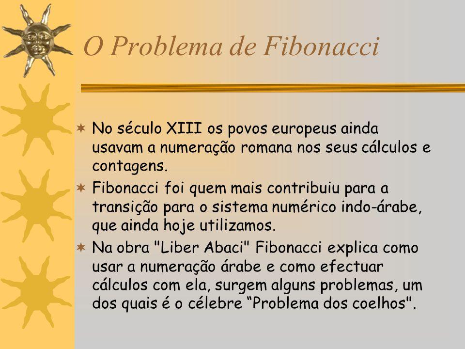 O Problema de Fibonacci No século XIII os povos europeus ainda usavam a numeração romana nos seus cálculos e contagens. Fibonacci foi quem mais contri
