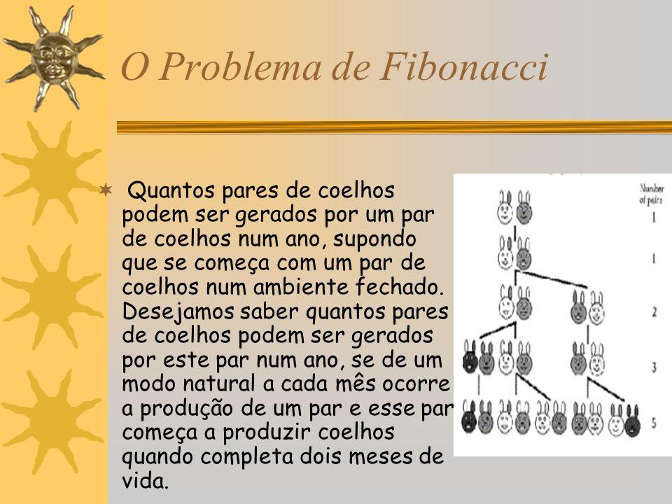 O Problema de Fibonacci Quantos pares de coelhos podem ser gerados por um par de coelhos num ano, supondo que se começa com um par de coelhos num ambi