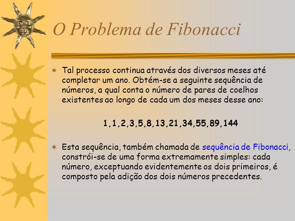 O Problema de Fibonacci Tal processo continua através dos diversos meses até completar um ano. Obtém-se a seguinte sequência de números, a qual conta