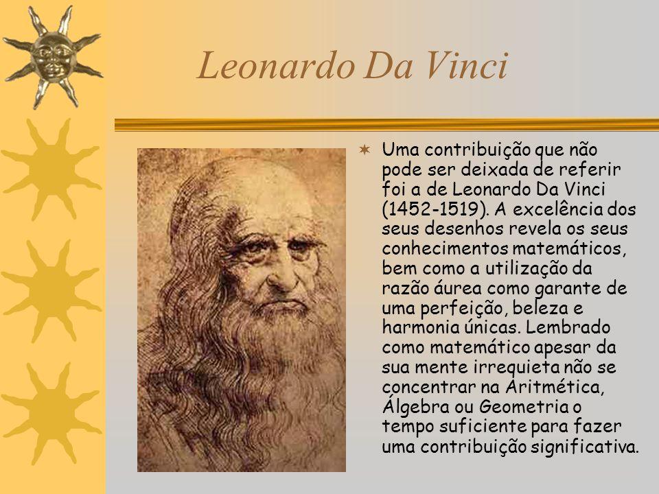 Leonardo Da Vinci Uma contribuição que não pode ser deixada de referir foi a de Leonardo Da Vinci (1452-1519). A excelência dos seus desenhos revela o
