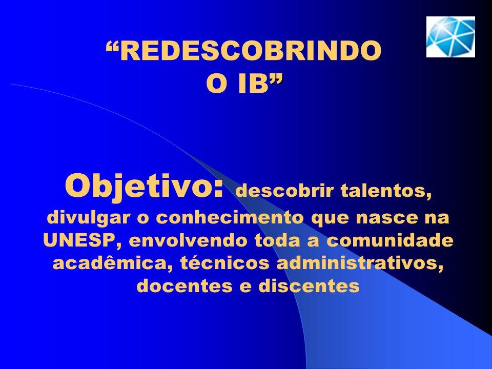 REDESCOBRINDO O IB Objetivo: descobrir talentos, divulgar o conhecimento que nasce na UNESP, envolvendo toda a comunidade acadêmica, técnicos administ