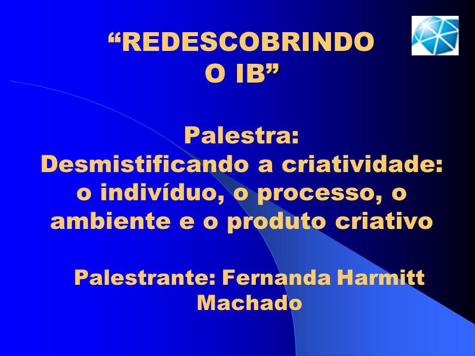 REDESCOBRINDO O IB Palestra: Desmistificando a criatividade: o indivíduo, o processo, o ambiente e o produto criativo Palestrante: Fernanda Harmitt Ma