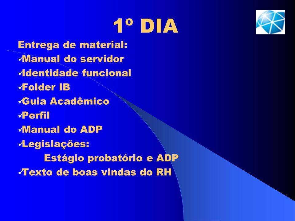 1º DIA Entrega de material: Manual do servidor Identidade funcional Folder IB Guia Acadêmico Perfil Manual do ADP Legislações: Estágio probatório e AD