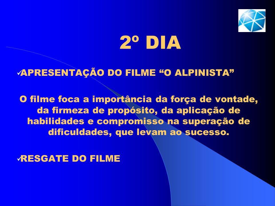 2º DIA APRESENTAÇÃO DO FILME O ALPINISTA O filme foca a importância da força de vontade, da firmeza de propósito, da aplicação de habilidades e compro