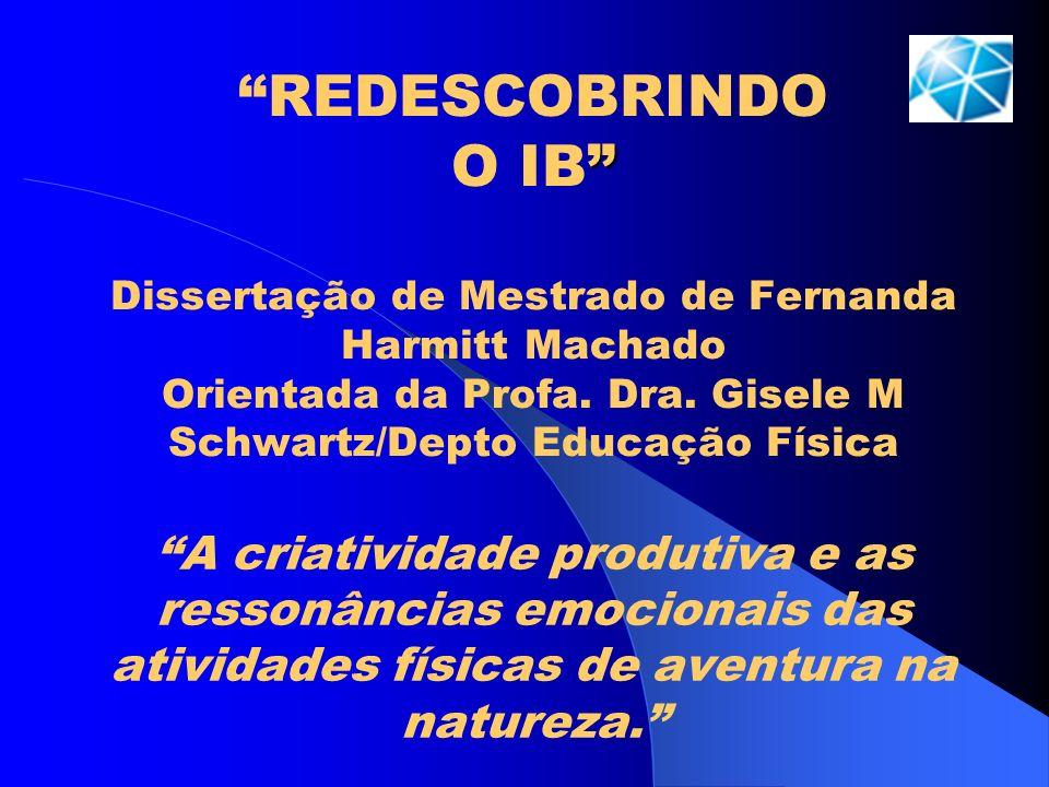 REDESCOBRINDO O IB Dissertação de Mestrado de Fernanda Harmitt Machado Orientada da Profa. Dra. Gisele M Schwartz/Depto Educação Física A criatividade