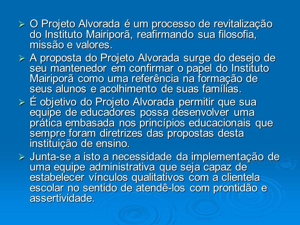O Projeto Alvorada é um processo de revitalização do Instituto Mairiporã, reafirmando sua filosofia, missão e valores. O Projeto Alvorada é um process