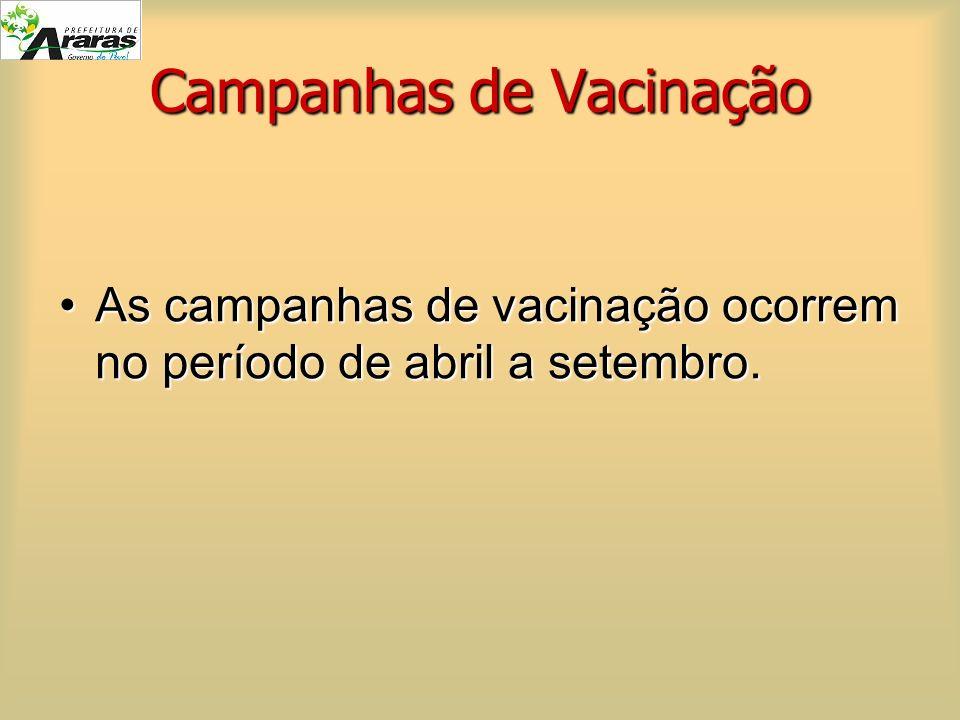 Campanhas de Vacinação As campanhas de vacinação ocorrem no período de abril a setembro.As campanhas de vacinação ocorrem no período de abril a setemb