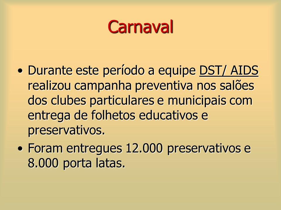 Carnaval Durante este período a equipe DST/ AIDS realizou campanha preventiva nos salões dos clubes particulares e municipais com entrega de folhetos