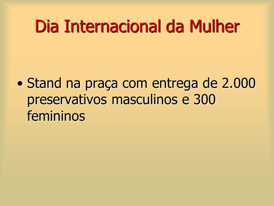 Dia Internacional da Mulher Stand na praça com entrega de 2.000 preservativos masculinos e 300 femininosStand na praça com entrega de 2.000 preservati