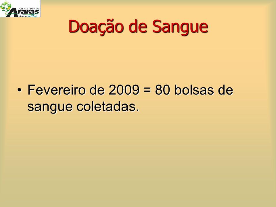 Doação de Sangue Fevereiro de 2009 = 80 bolsas de sangue coletadas.Fevereiro de 2009 = 80 bolsas de sangue coletadas.