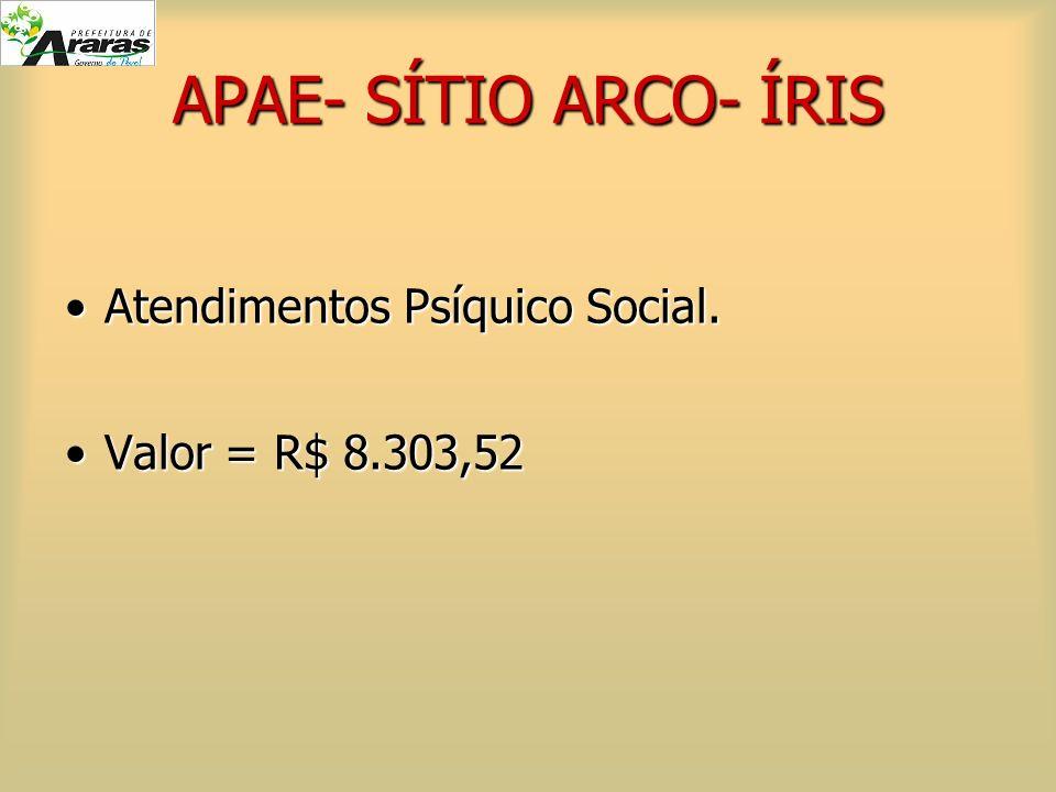 APAE- SÍTIO ARCO- ÍRIS Atendimentos Psíquico Social.Atendimentos Psíquico Social. Valor = R$ 8.303,52Valor = R$ 8.303,52