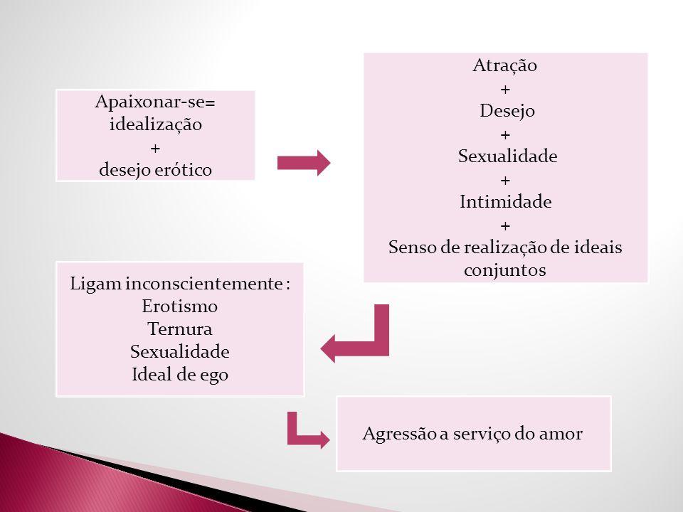 Atração + Desejo + Sexualidade + Intimidade + Senso de realização de ideais conjunt0s Apaixonar-se= idealização + desejo erótico Ligam inconscientemen