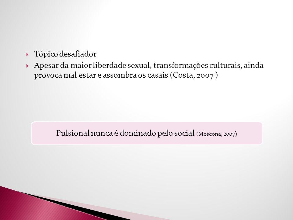 Tópico desafiador Apesar da maior liberdade sexual, transformações culturais, ainda provoca mal estar e assombra os casais (Costa, 2007 ) Pulsional nu