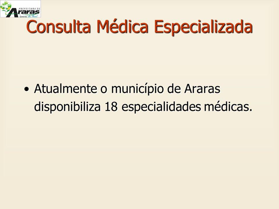 Consulta Médica Especializada Atualmente o município de Araras disponibiliza 18 especialidades médicas.Atualmente o município de Araras disponibiliza