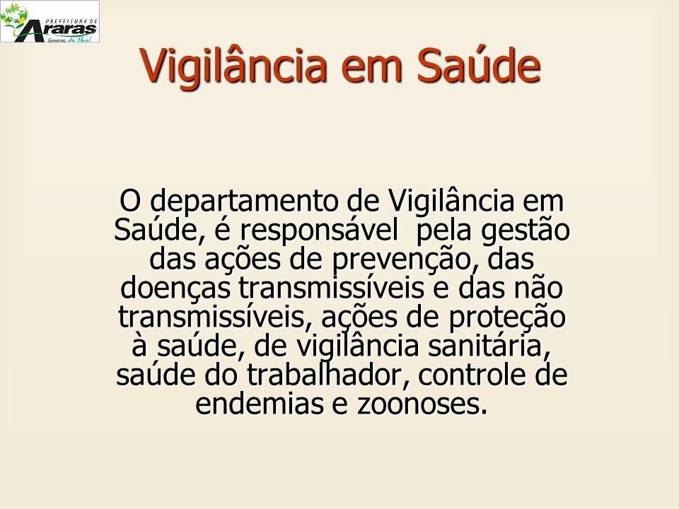 Vigilância em Saúde O departamento de Vigilância em Saúde, é responsável pela gestão das ações de prevenção, das doenças transmissíveis e das não tran
