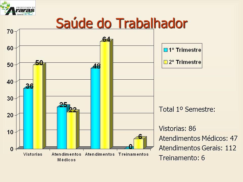 Saúde do Trabalhador Total 1º Semestre: Vistorias: 86 Atendimentos Médicos: 47 Atendimentos Gerais: 112 Treinamento: 6
