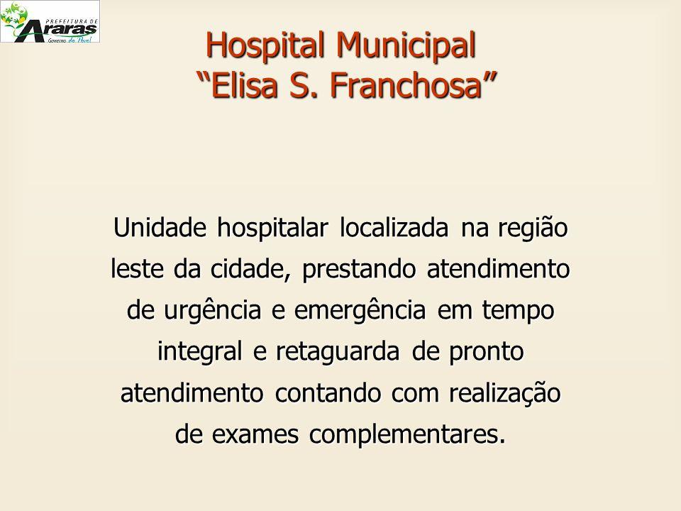 Hospital Municipal Elisa S. Franchosa Unidade hospitalar localizada na região leste da cidade, prestando atendimento de urgência e emergência em tempo